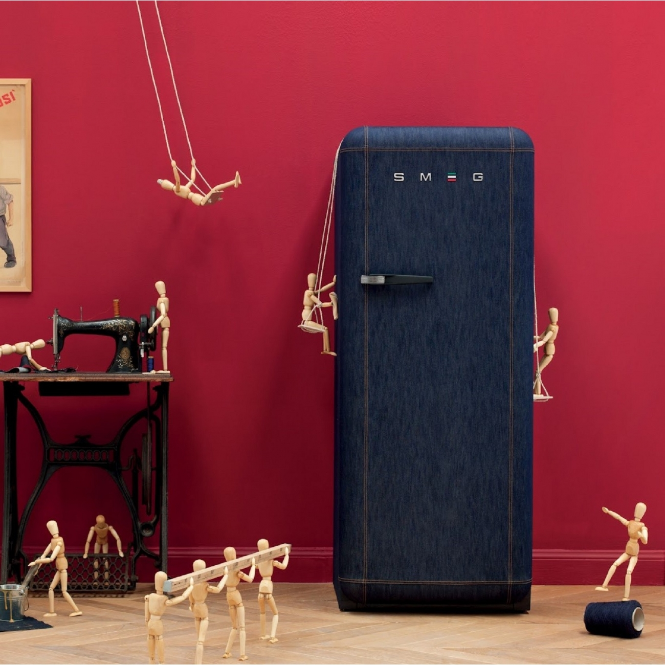 Smeg Fridge Blu Denim 50 S Retro Style Tattahome