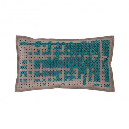 GAN SPACES CANEVAS ABSTRACT GREEN CUSHION