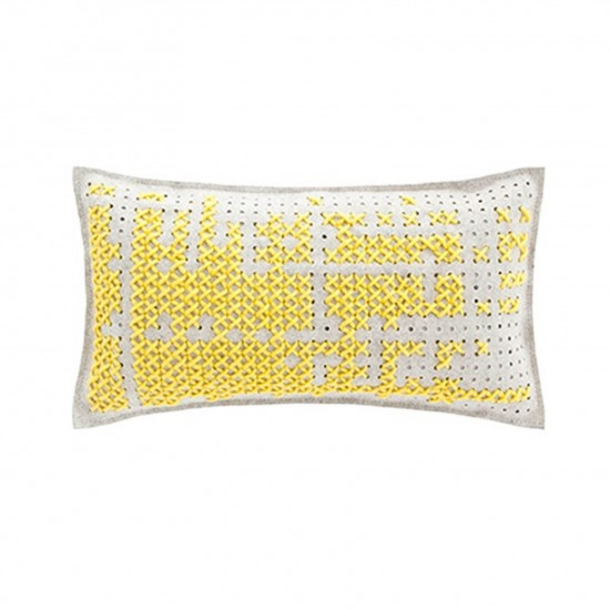GAN SPACES CANEVAS ABSTRACT DARK YELLOW CUSHION