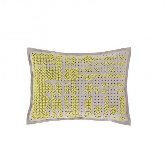 GAN SPACES CANEVAS ABSTRACT YELLOW CUSHION