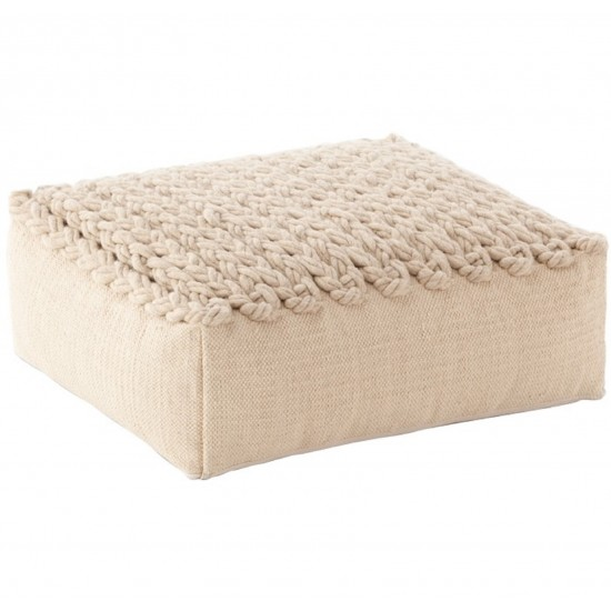 GAN SPACES TRENZAS BEIGE SQUARE POUF