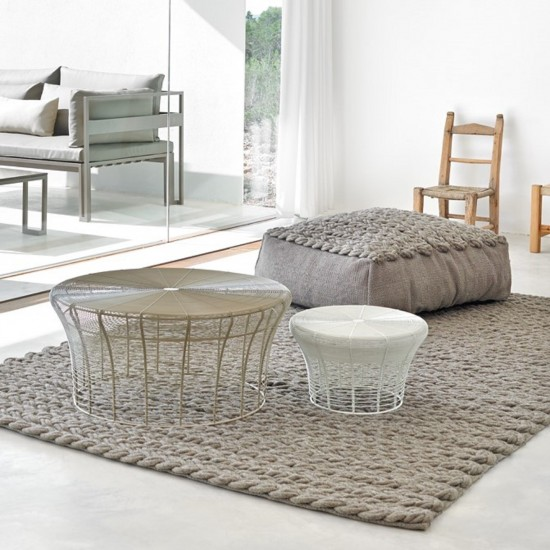 GAN SPACES TRENZAS TAUPE SQUARE POUF