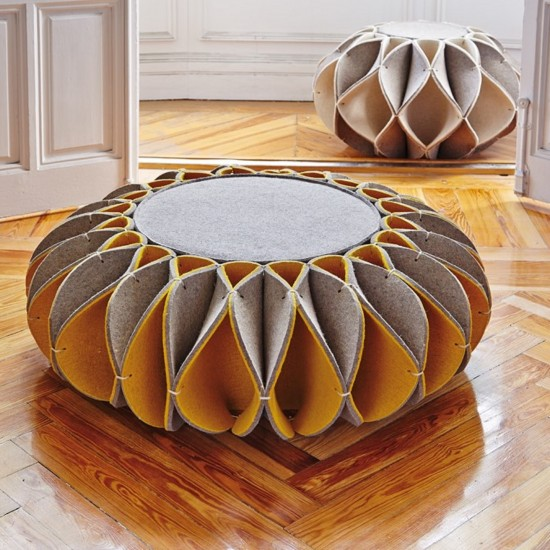 GAN ACCESSORIES RUFF POUF LOW YELLOW