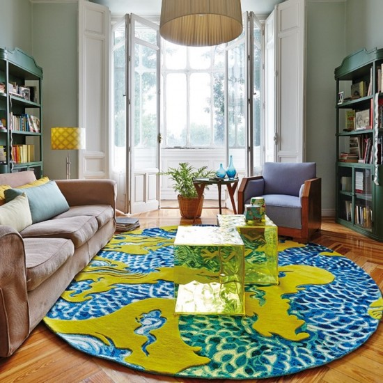 GAN CHAIN STITCH COLLECTION BLUE CHINA YELLOW RUG