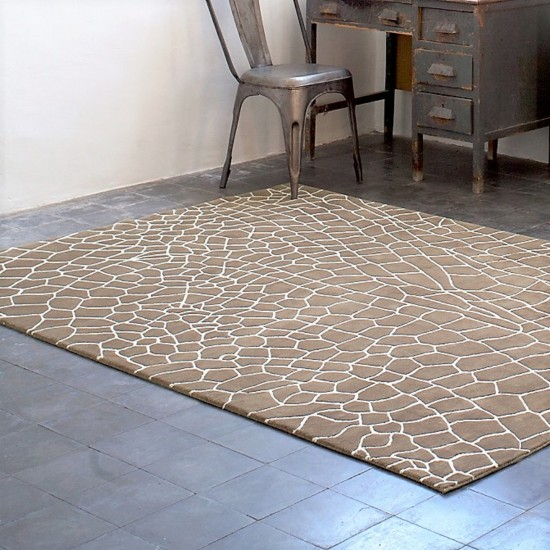 GAN HAND KNOTTED COLLECTION DRAGONFLY BROWN RUG
