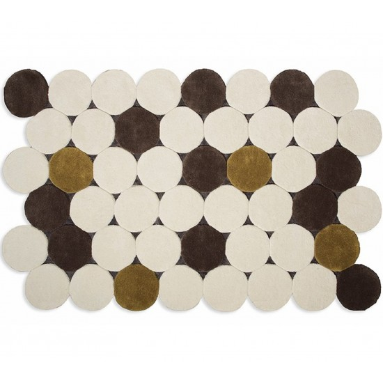 GAN HAND TUFTED COLLECTION CIRCULOS BEIGE RUG