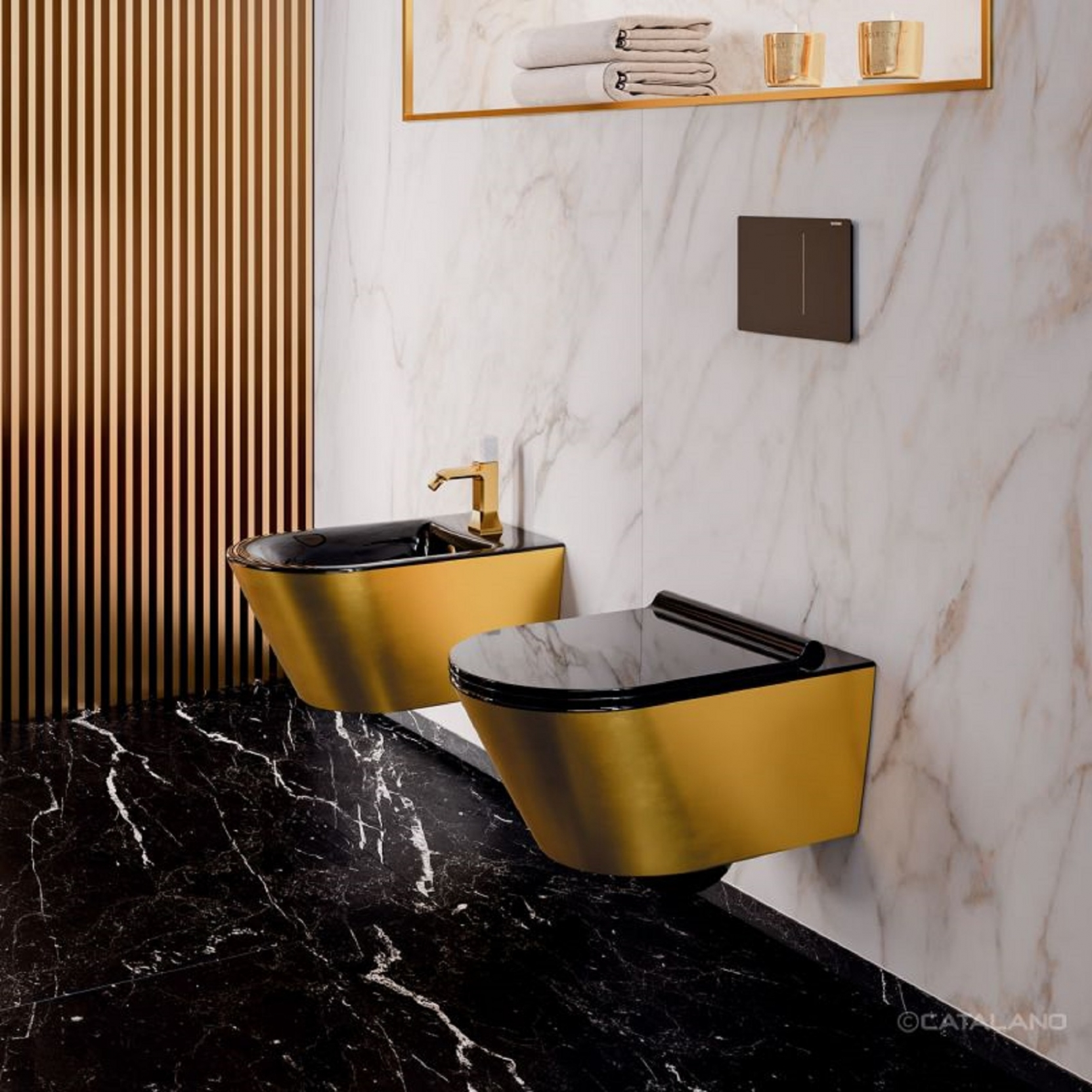 Catalano Gold Silver Wall Hung Bidet Tattahome