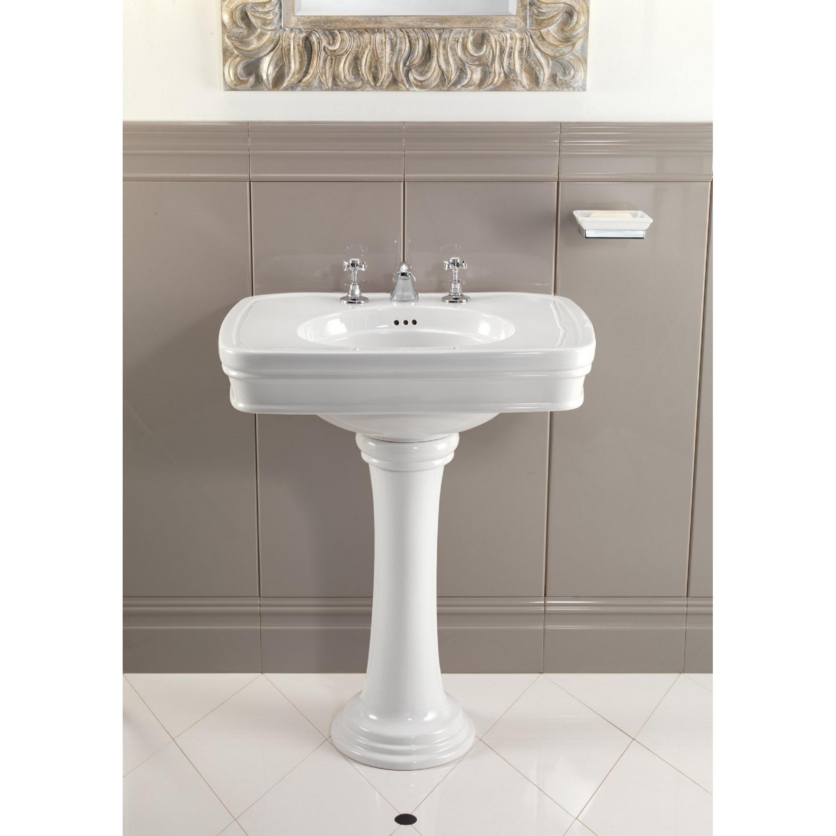 devon devon rose washbasin with pedestal tattahome. Black Bedroom Furniture Sets. Home Design Ideas