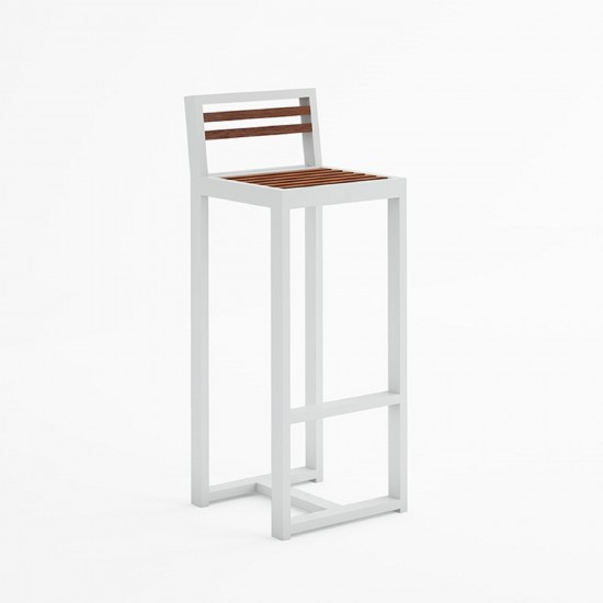 GANDIA BLASCO DNA TEAK STOOL WITH BACKREST