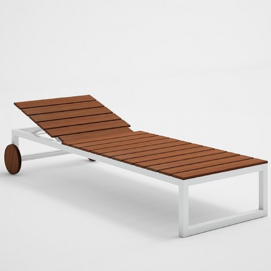 GANDIA BLASCO SALER TEAK CHAISELONGUE