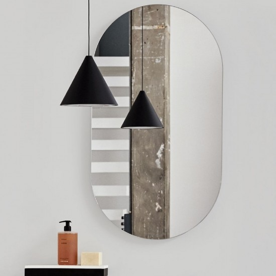 CIELO OVAL MIRROR MATT BLACK IN STOCK