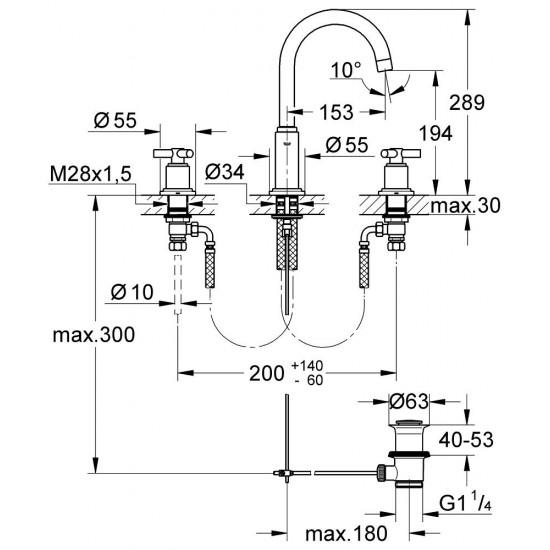 GROHE ATRIO Y Three-hole basin mixer