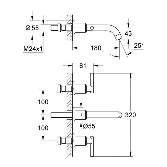 GROHE ATRIO J Three-hole basin mixer 180 MM
