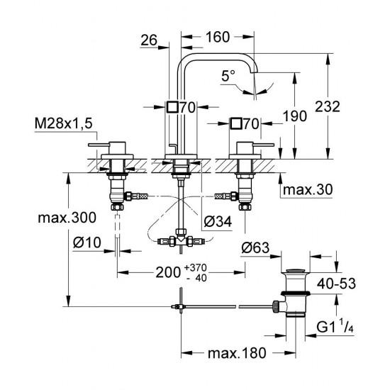 GROHE ALLURE Three-hole basin mixer