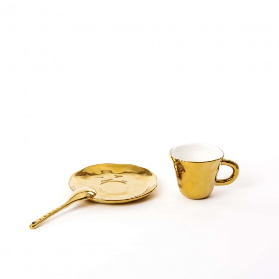 SELETTI FINGERS PORCELAIN GOLD COFFEE CUP
