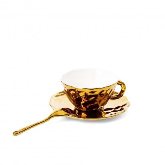SELETTI FINGERS PORCELAIN GOLD TEA CUP