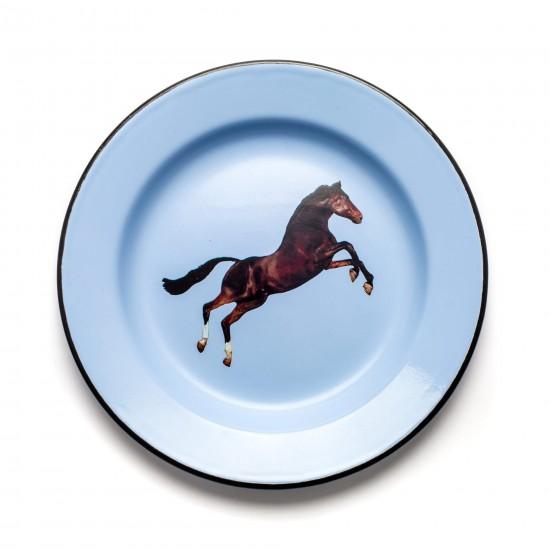 SELETTI TOILETPAPER ENAMEL PLATE HORSE