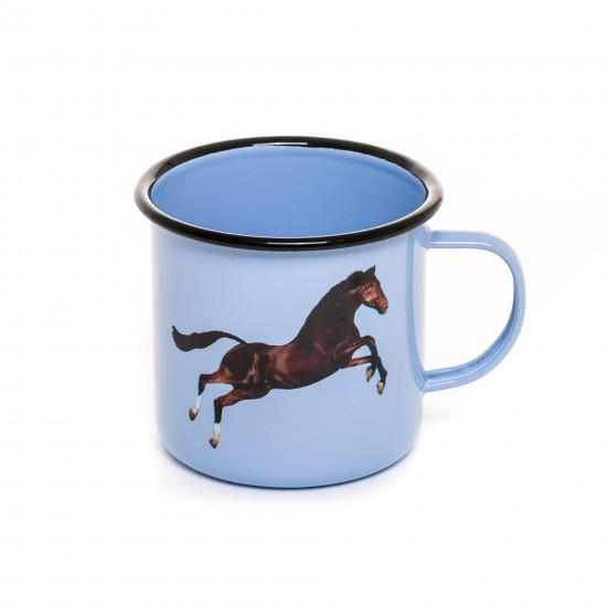 SELETTI TOILETPAPER ENAMEL MUG HORSE