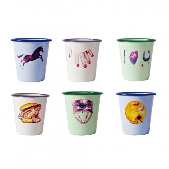 SELETTI TOILETPAPER SET OF 6 ENAMEL GLASSES