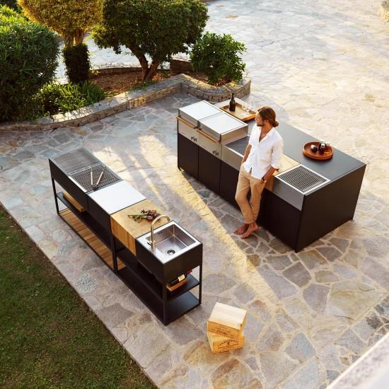 Röshults Modulo Kitchen Sink X Antracite / Acciaio Inox Spazzolato