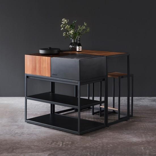 Röshults Open Bistro Table 1000x500 Antracite Teak