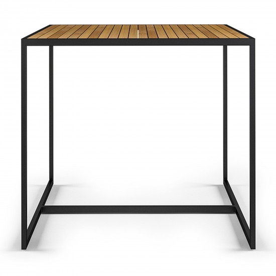 Röshults Open Bistro Table 1000x1000 Antracite Teak