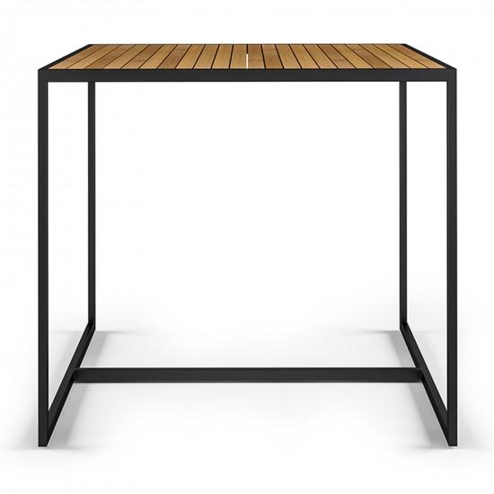 Röshults Open Bistro Table 1000x1000 Antrhacite Teak