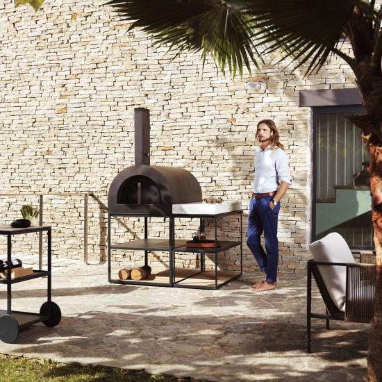 Röshults BBQ Wood Oven Brushed Stainless Steel Teak