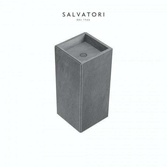 Salvatori Adda Freestanding Sink Ribbed Stone 41X41
