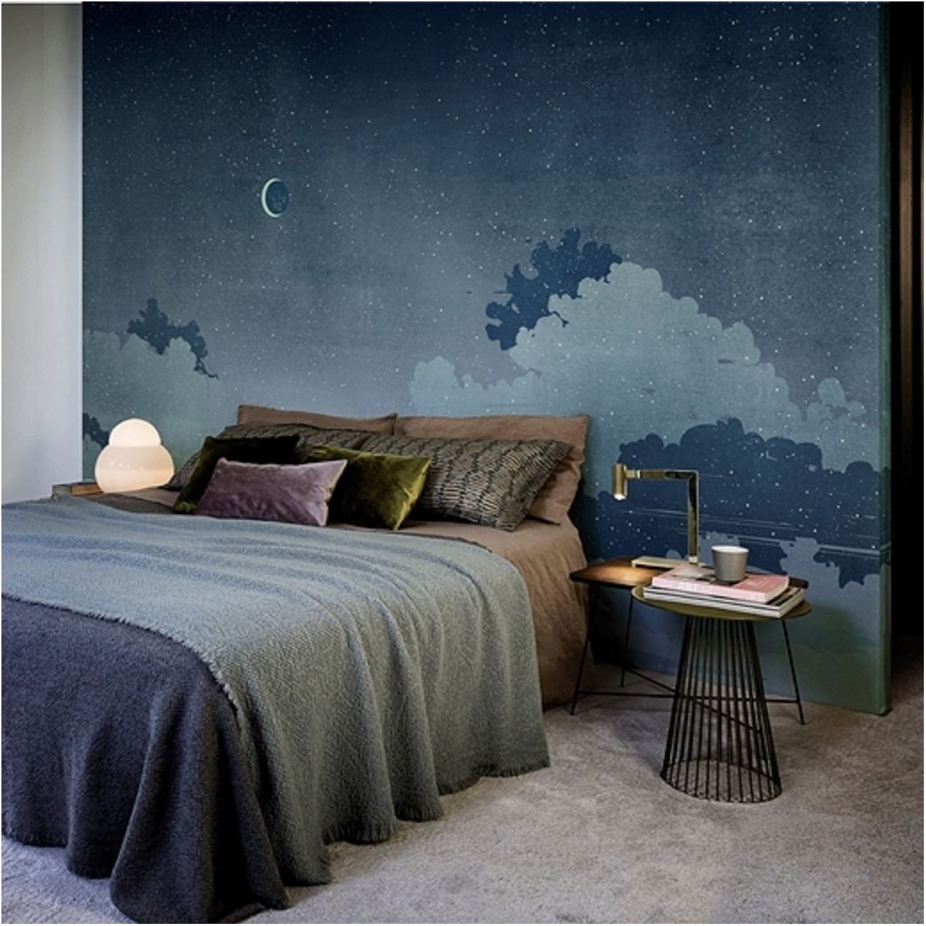 wall deco notturno blu wallpaper tattahome. Black Bedroom Furniture Sets. Home Design Ideas