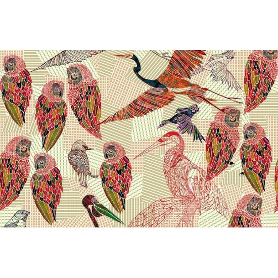 Wall & Deco PENCIL BIRDS Wallpaper