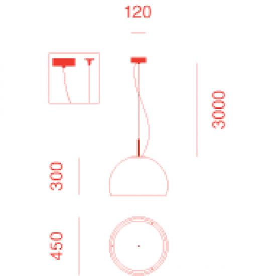 PRANDINA BILUNA S5 LAMPADA A SOSPENSIONE NERO LUX