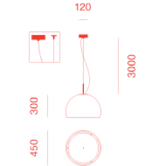 PRANDINA BILUNA S5 SUSPENDED LAMP GLOSSY BLACK