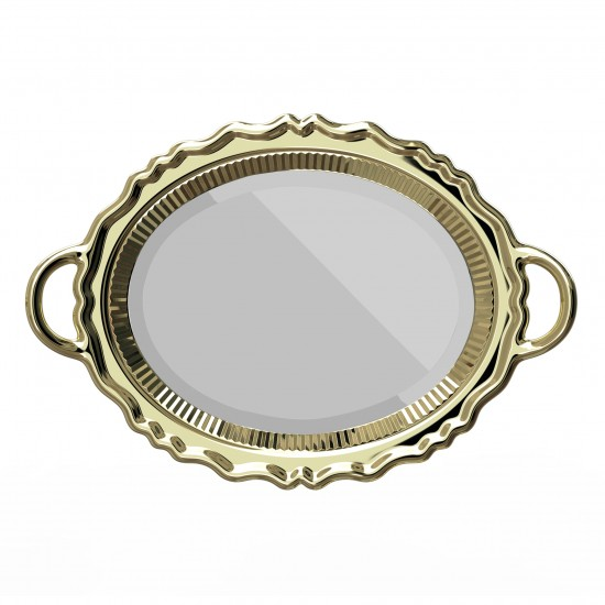 Qeeboo Plateau Miroir Metal Gold