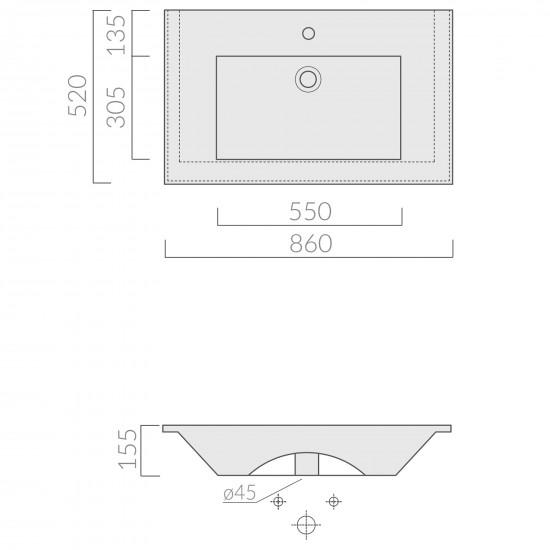 Galassia Plus Design encased basin