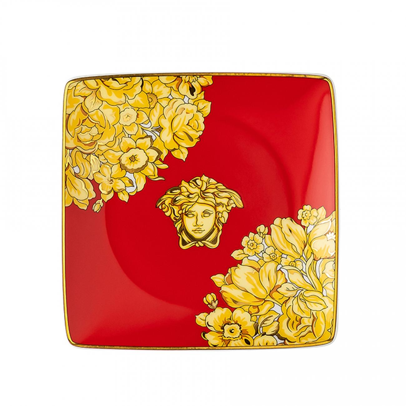 Rosenthal Versace Medusa Rhapsody Red Bowl square flat