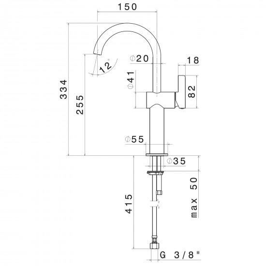 Newform Blink Chic high basin mixer