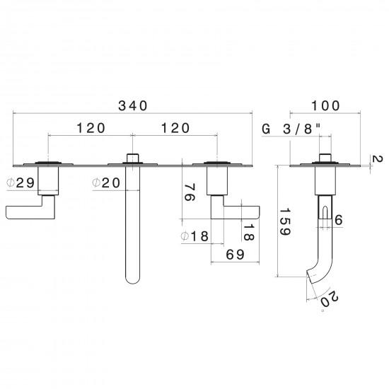 Newform Blink Chic wall mounted basin mixer