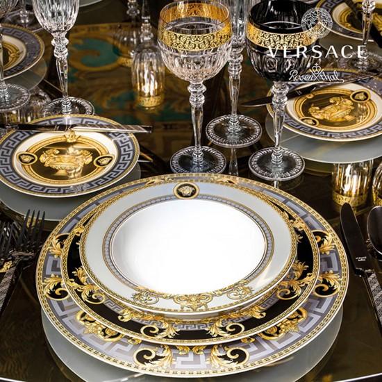 Rosenthal Versace Prestige Gala Bleu Tart platter on foot