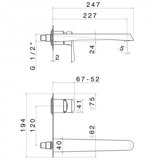Newform Nio wall mounted basin mixer
