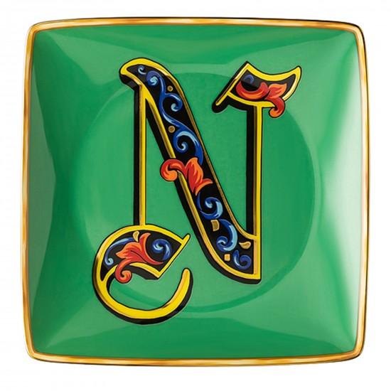 Rosenthal Versace Alphabet N Bowl square flat
