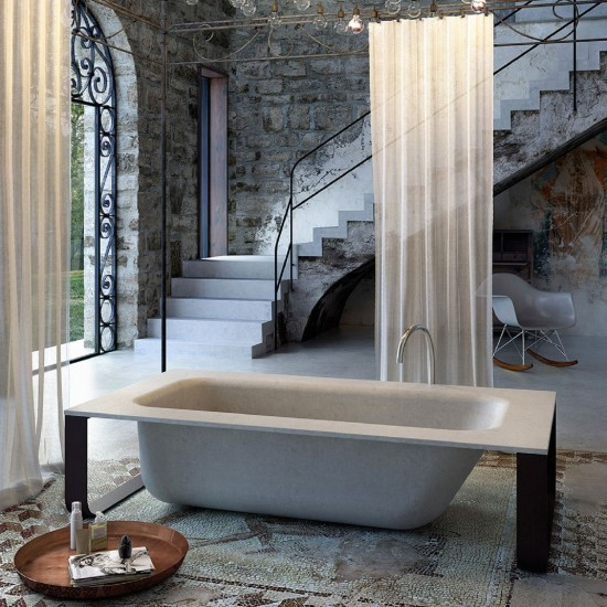 GLASS CONCRETE BATH BATHTUB