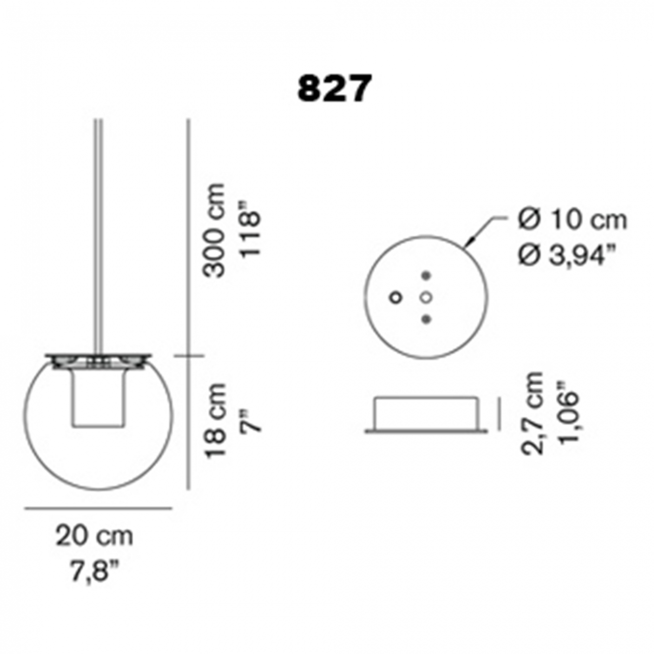 OLuce The Globe 827 Suspension lamp