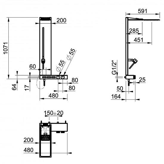 Gessi Hi-Fi wall mounted shower column