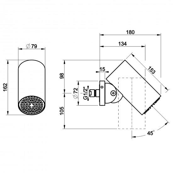 Gessi Meccanica wall-mounted showerhead