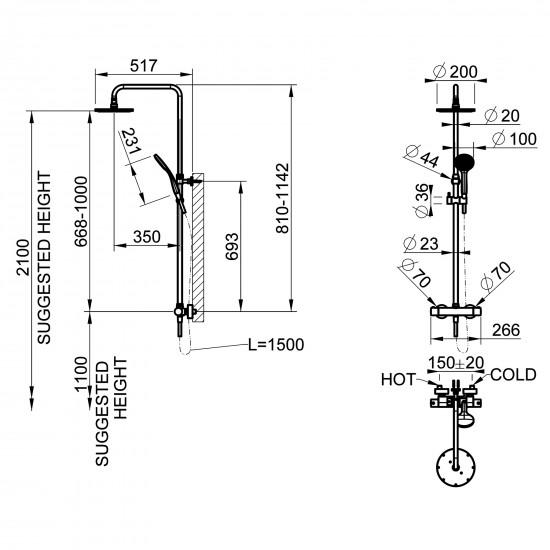 Gessi Minimalistic colonna doccia termostatica