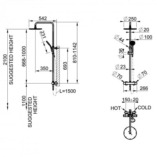 Gessi Minimalistic thermostatic shower column
