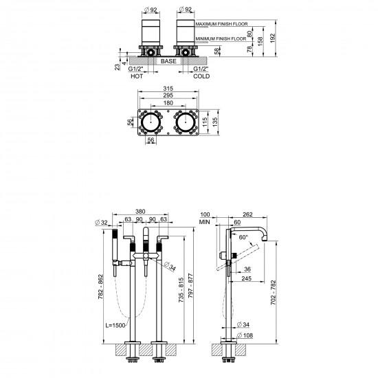 Gessi Inciso floor-mounted bath mixer