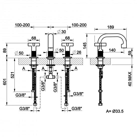 Gessi Inciso 3 holes basin mixer