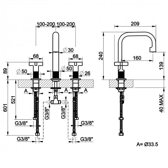 Gessi Inciso medium 3 holes basin mixer